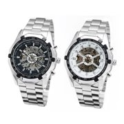 White Stainless Steel Mens Skeleton Automatic Mechanical Wrist Watch Gifts