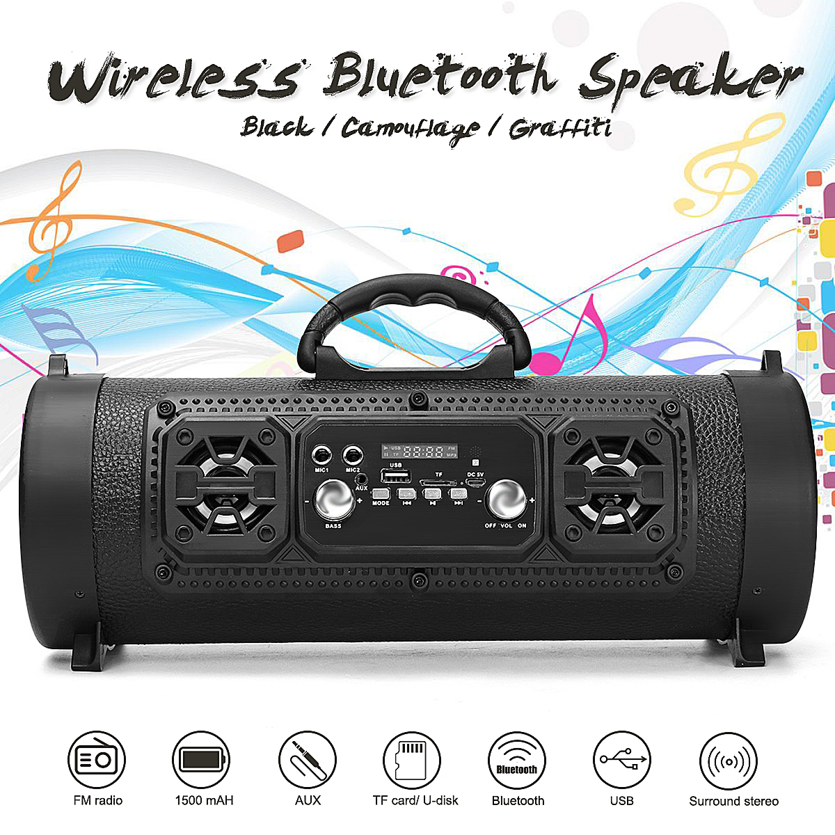 Wireless Bluetooth Speaker Portable Subwoofer Super Bass Audio Sound Box USB TF