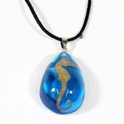 OP601 Necklace Oceanic Sea Horse Tear Drop Blue