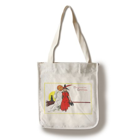 Halloween Greetings Witch on Broom with Friends Scene (100% Cotton Tote Bag - Reusable) (Halloween Opening Scene Analysis)