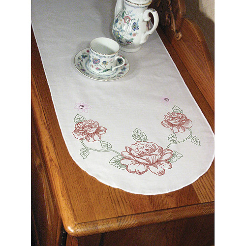 "Fairway Needlecraft Rose Stamped Perle Edge Dresser Scarf, 15"" x 42"""