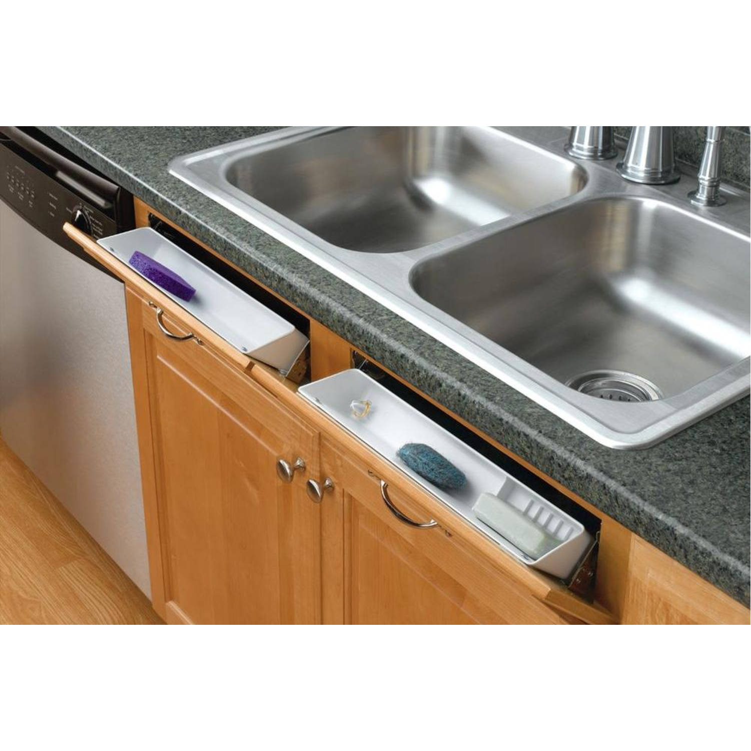 Rev-A-Shelf  White Tip-Out Tray, 14 Inch, Polymer 2 Tray Set with Hinges