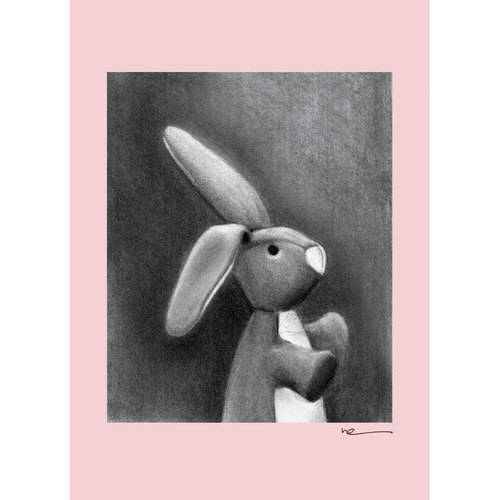 Oopsy Daisy - Charcoal Bunny-Pink Border Canvas Wall Art 10x14, Margot Curran