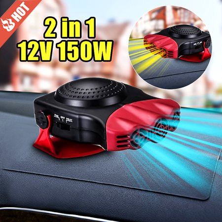 Car Heater Heating Cooling Fan Warm Winter 150W 12V Hot Gift Windscreen Demister Windshield Heat Defroster Cool Summer Universal Vehicle Van SUV - Suv Windshield