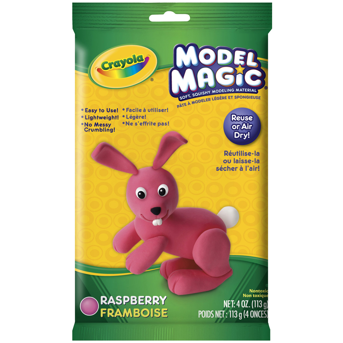 Crayola Model Magic, Raspberry, Alternative Modeling Clay for Kids, 4oz