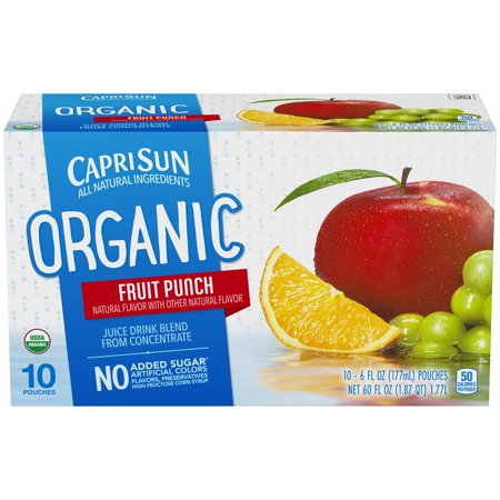(4 Pack) Capri Sun Organic Fruit Punch Juice Drink, 10 - 6 fl oz