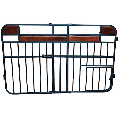 Carlson Design Studio Expandable Pet Gate, Charcoal with Cherry Wood