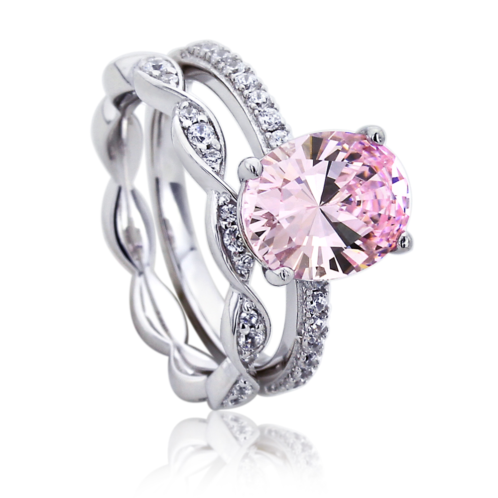 Sterling Silver Platinum Plated Engagement Ring Pink Oval Cubic Zirconia Solitaire Ring Set by