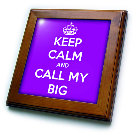 3dRose Keep calm and call my big. Purple. - Framed Tile, 6 by 6-inch