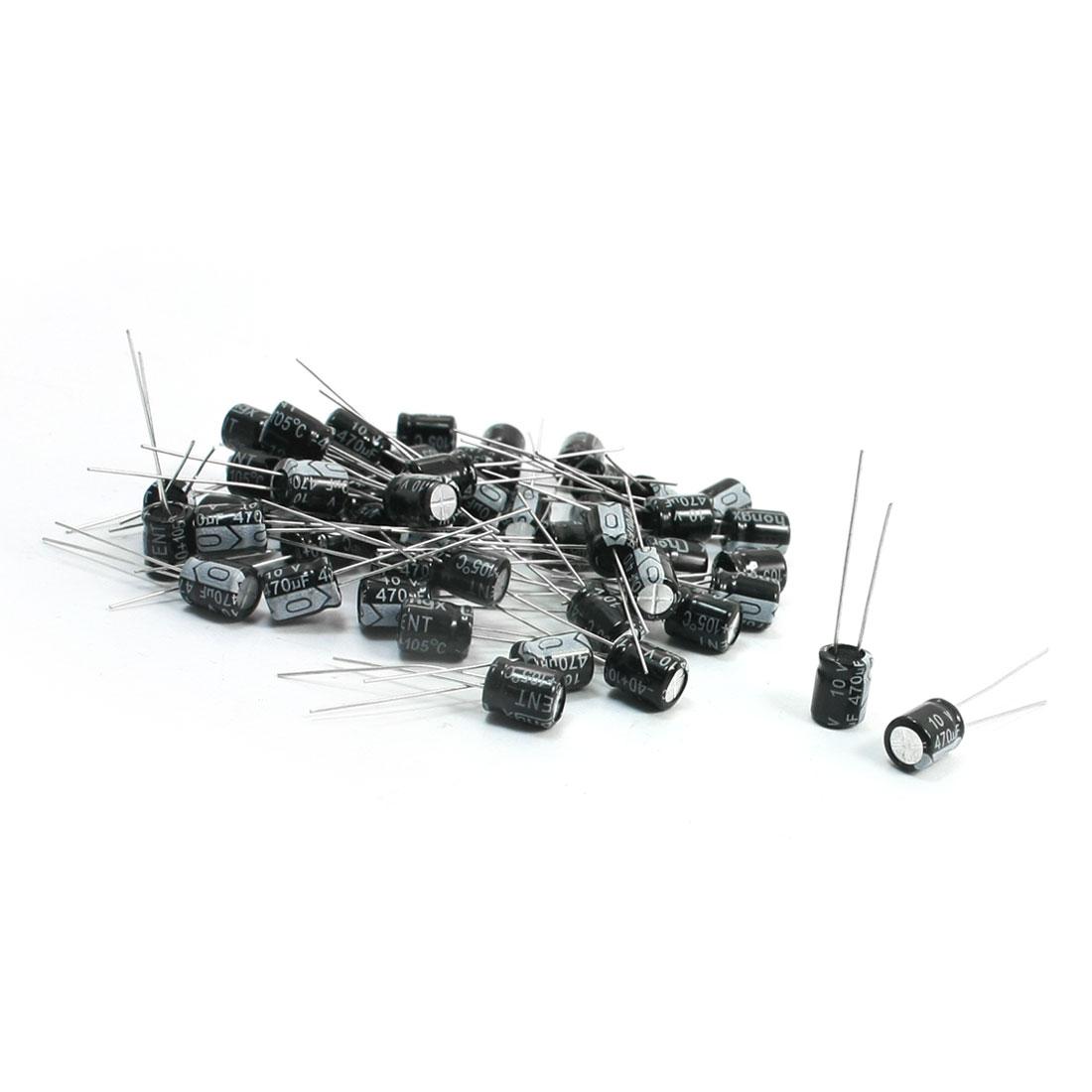 6mm x 8mm Through Hole Aluminum Electrolytic Capacitor 10V 470uF 50Pcs - image 1 of 1