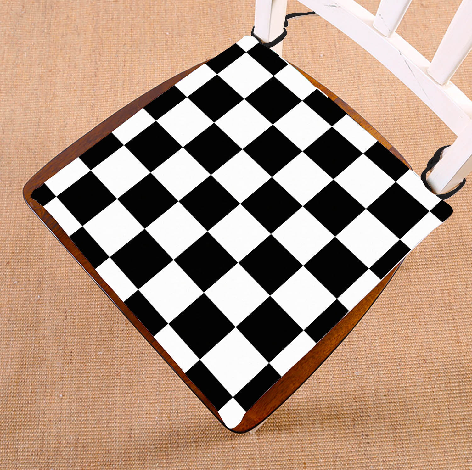 Gckg Checkered Chair Cushion Black