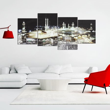 4 Panels Islam Mecca Holy City Night Muslims Canvas Picture Wall Art  - image 1 de 7