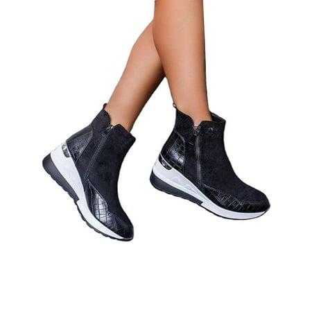 Daeful Womens Platform Wedge Heel Slip On Sneaker Loafer Shoes