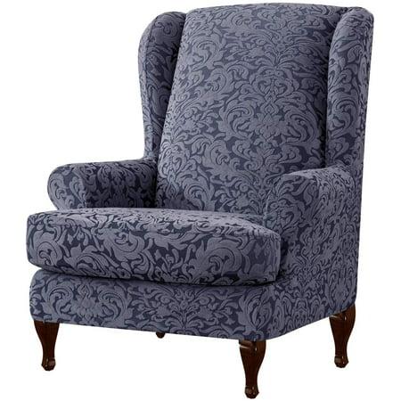 Subrtex Stretch 1-Piece Jacquard Damask Wing Chair Slipcover, Grayish Gray
