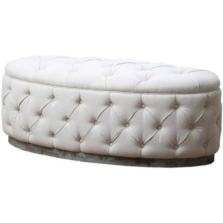 - Devon & Claire Auburn Beige Linen Tufted Ottoman Bench