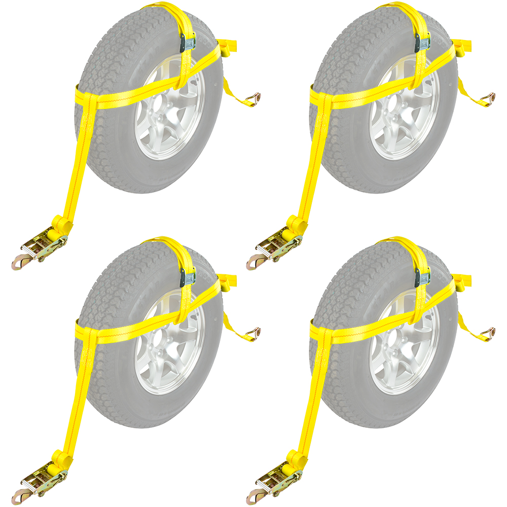 "4-Pack Auto Hauler 16"" Tire Wheel Bonnet Cam Adjustable Tie-Down Strap by Rage Powersports"