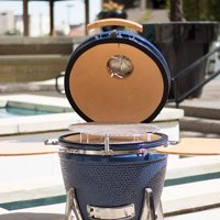 """Lifesmart Deen Brothers Series 22"""" Kamado Ceramic Grill & Smoker Value Bundle Includes Electric Starter and Cover"""