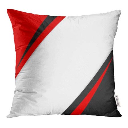 Red Cross Booklet (ECCOT Annual Abstract Black Red White Shadows Book Booklet Pillow Case Pillow Cover 16x16 inch)