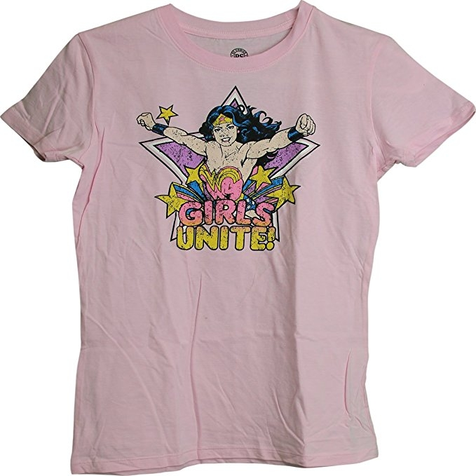 Wonder Woman Girls Distressed Logo Juniors Girls T-Shirt (Large)