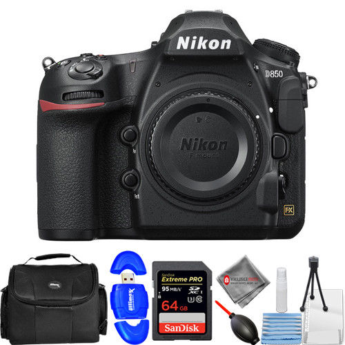 Nikon D850 DSLR Camera (Body Only) w/ 64GB + DSLR Bag + Cleaning Kit Bundle - image 1 de 1