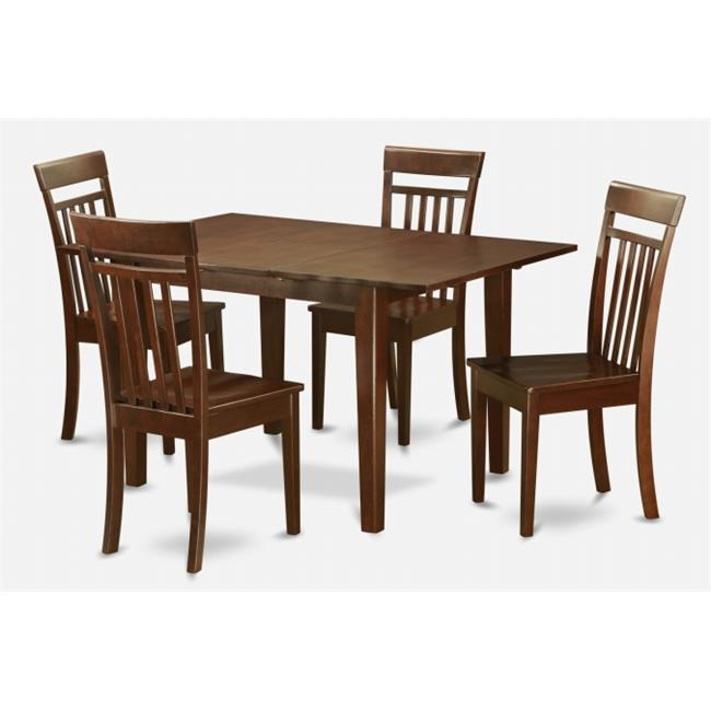 East West Furniture PSCA5-MAH-W 5 Pc Dining Table 32x60in With 4 Slatted Back wood Seat Chairs