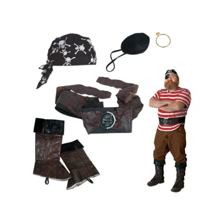 Brown and Black 5-Piece Pirate Halloween Costume Party Accessory Set for $<!---->