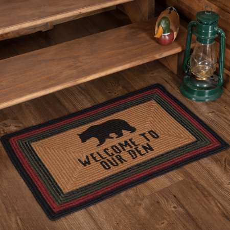 Snowboard Jacket Bear Rug (Crimson Red Rustic & Lodge Flooring Laramie Bear Welcome to Our Den Jute Stenciled Nature Print Rectangle Accent)