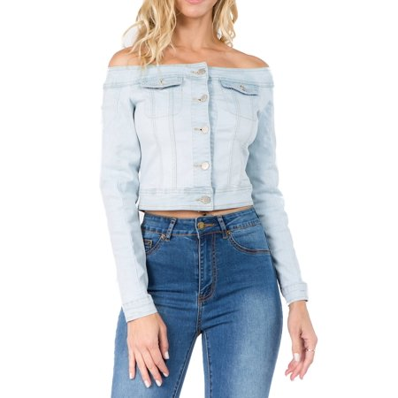 Love Moda Women's Long Sleeve Off Shoulder Cropped Denim Jacket (Lt.Blue, 2X (Best Place To Get Denim Jackets)