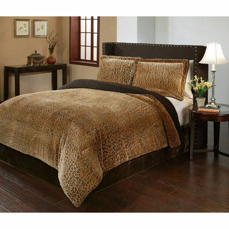 GHP 3-Pcs 270 GSM Velvet Plush Corded Edges Cheetah Print Queen Comforter & 2-Pcs Shams