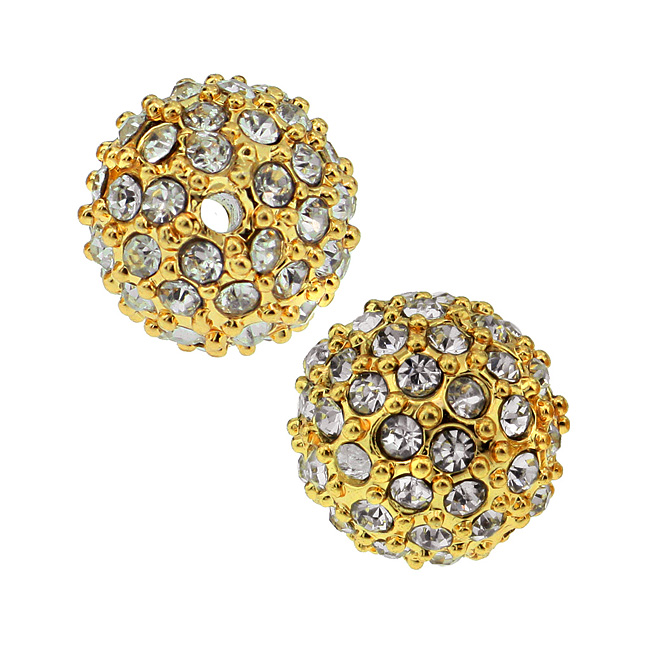 Beadelle Crystal 10mm Round Pave Bead - Gold Plated / Crystal (1 Piece)