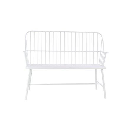 Decmode Traditional 38 X 48 Inch White Iron Patio Bench