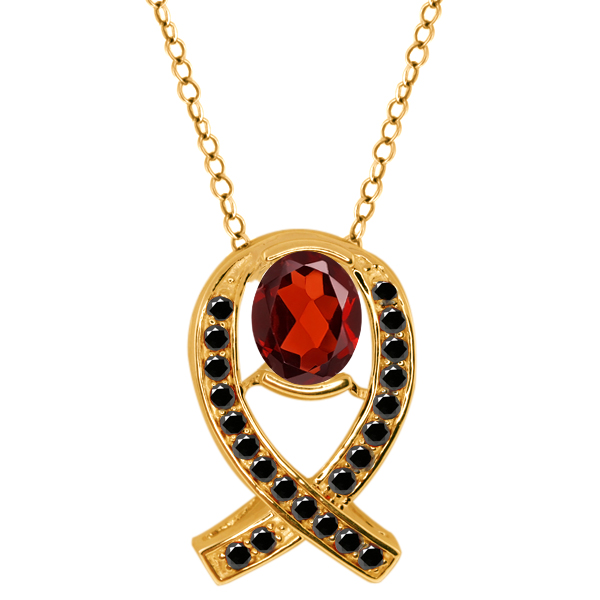 1.84 Ct Oval Red Garnet Black Diamond Yellow Gold Plated Sterling Silver Pendant