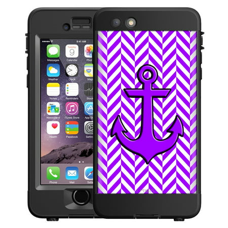 SKIN DECAL FOR LifeProof nuud Apple iPhone 6 Plus Case - Anchor on Chevron Mini Purple White DECAL, NOT A CASE
