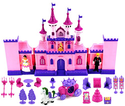 My Beautiful Castle 34 Toy Doll Playset w  Lights, Sounds, Prince and Princess Figures, Horse Carriage, Castle... by Velocity Toys