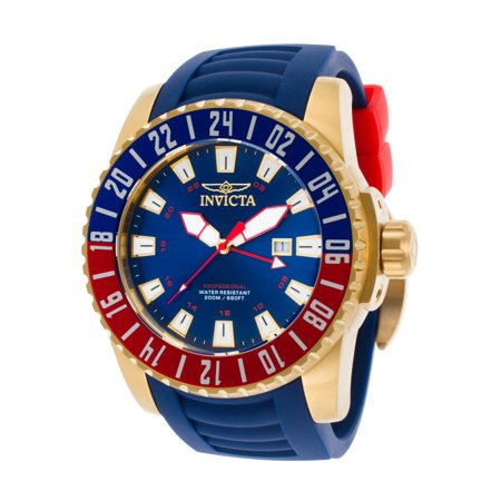Invicta 19682 Men's Pro Diver Gmt Blue Polyurethane And Dial 18K Gp Ss Case Watch