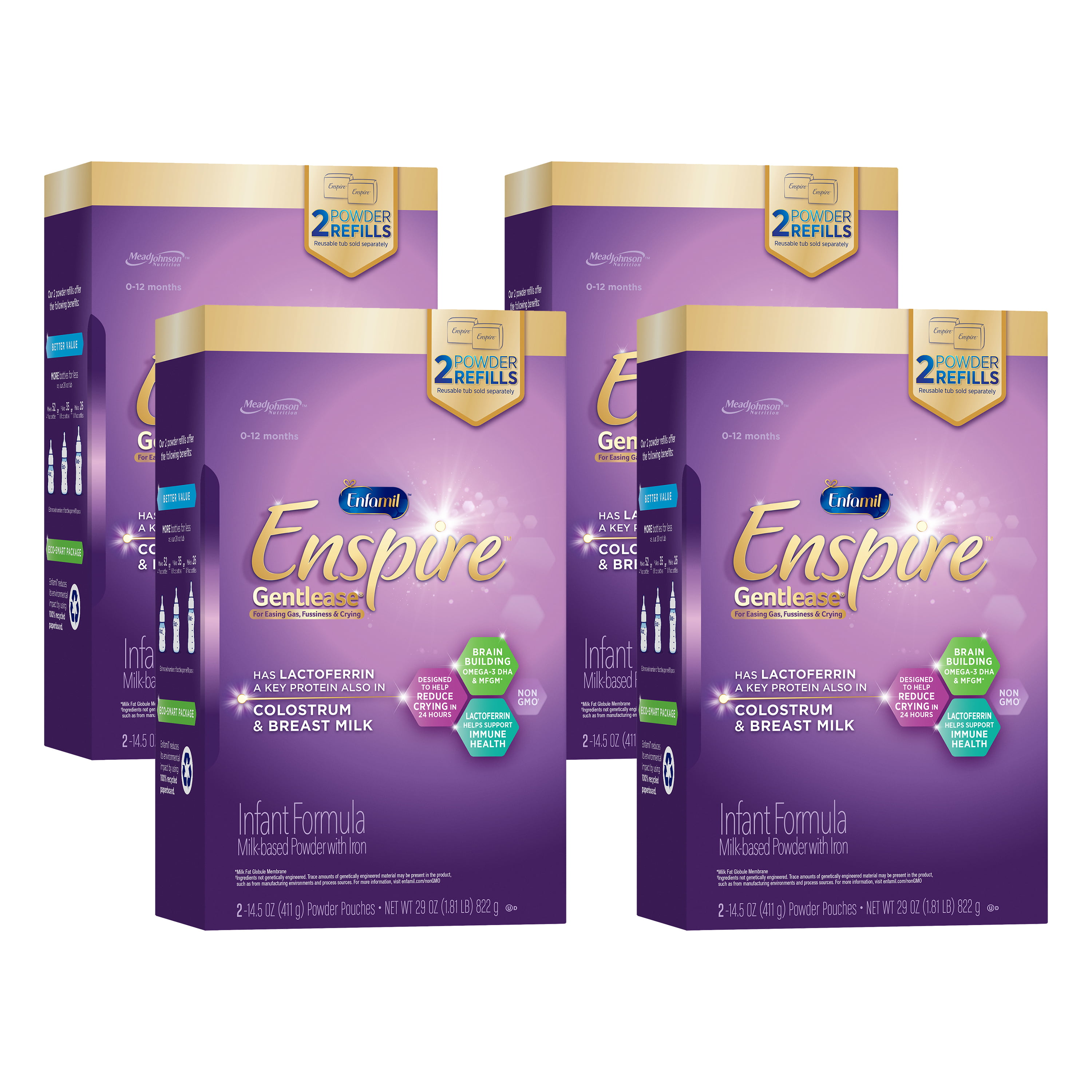 Enfamil Enspire Gentlease Infant Formula with MFGM and Lactoferrin - Powder, 29 oz Refill Box (4 Pack)
