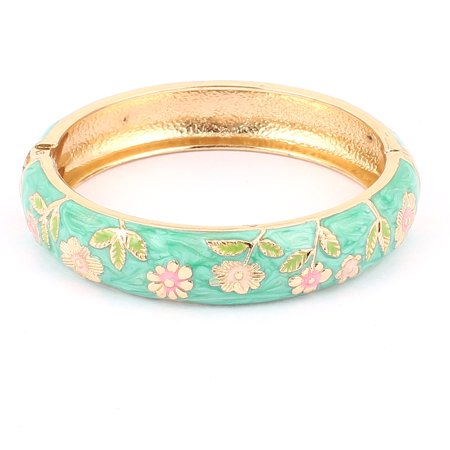 Unique Bargains Women Floral Carve Cuff Open Bracelet Bangle Jewelry Wedding Party Gift