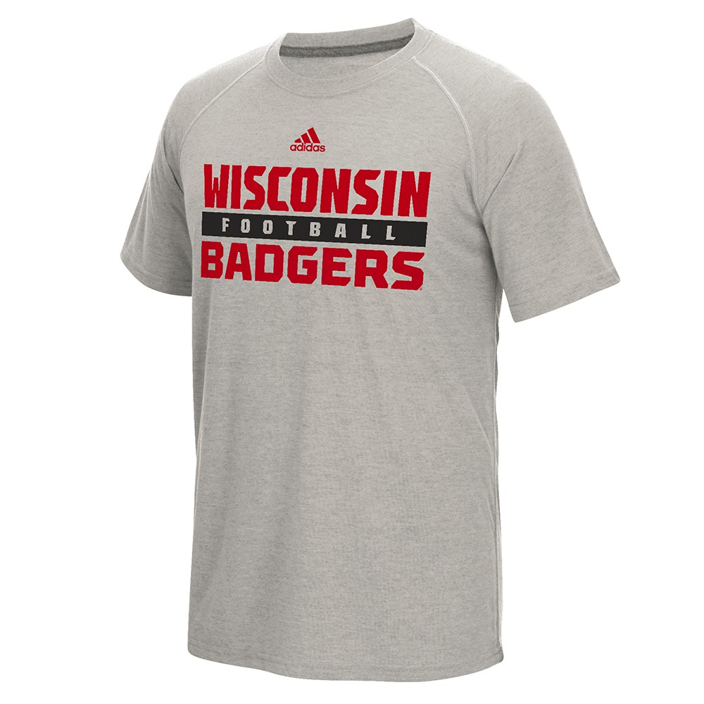 Wisconsin Badgers NCAA Adidas Men's Grey Football Climalite Ultimate Performance T-Shirt