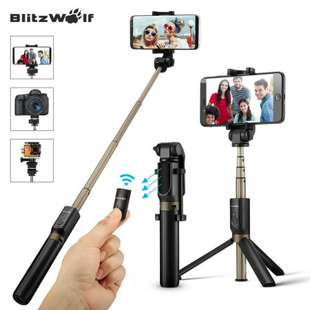 BlitzWolf Selfie Stick Tripod Monopod with Remote Control Shutter Handheld Extendable Folding Mini Pocket 360? Camera Tripods Clamp Universal Fit for 3.5