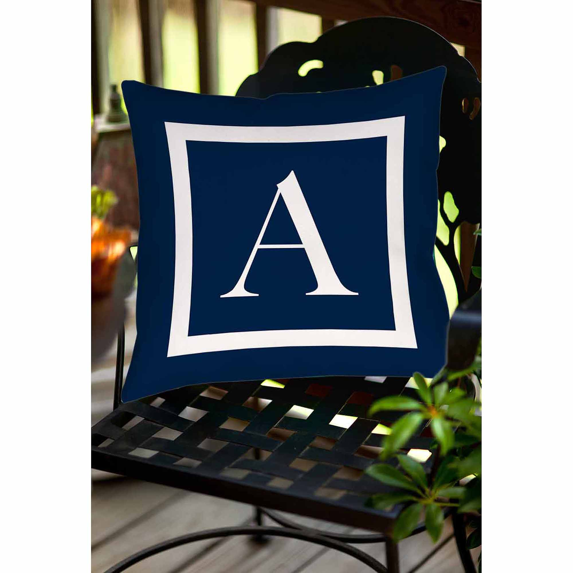 Thumbprintz Classic Block Monogram Decorative Pillow, Blue