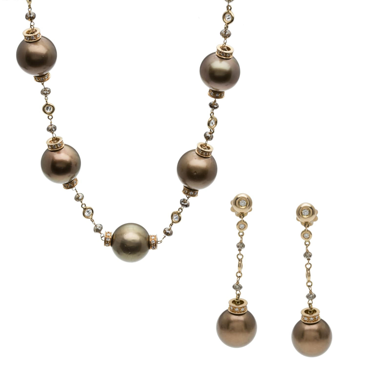 Pre-owned 18k Gold SS Pearl and 10ct TDW Diamond Jewelry Set (G-H, VS1-VS2)