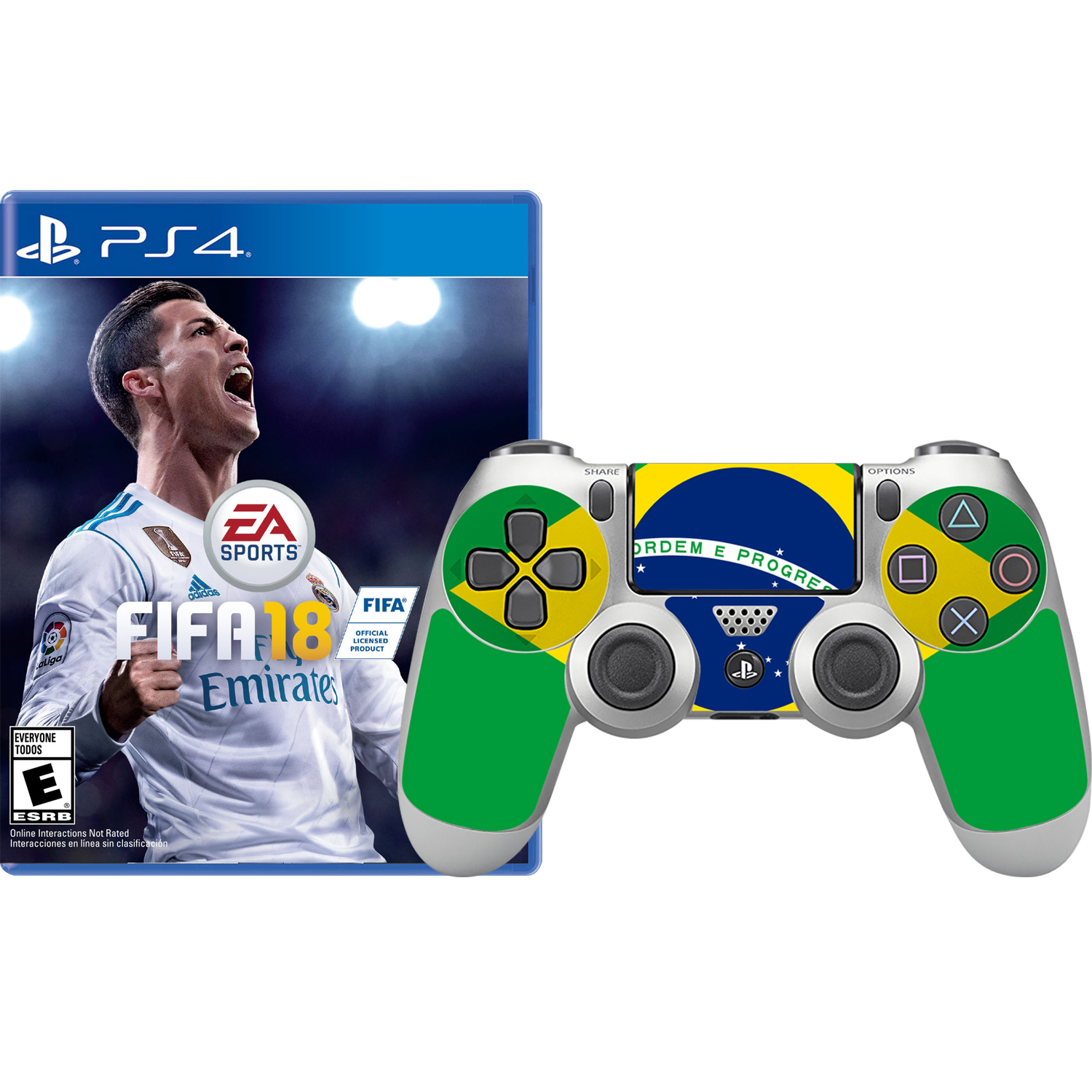 FIFA 18 and Brazil Skin Controller, Electronic Arts, PlayStation 4, 696055184910