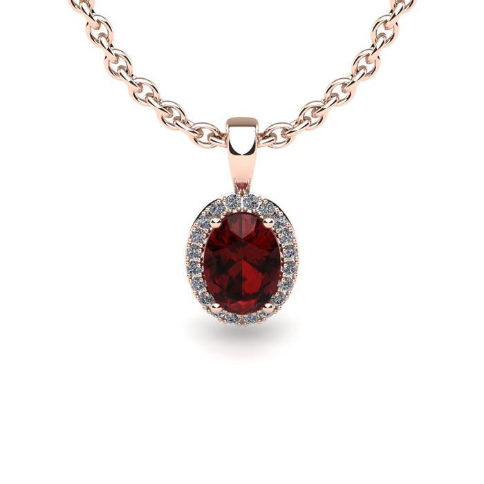 1 Carat Oval Shape Garnet and Halo Diamond Necklace In 14 Karat Rose Gold With 18 Inch Chain by SuperJeweler