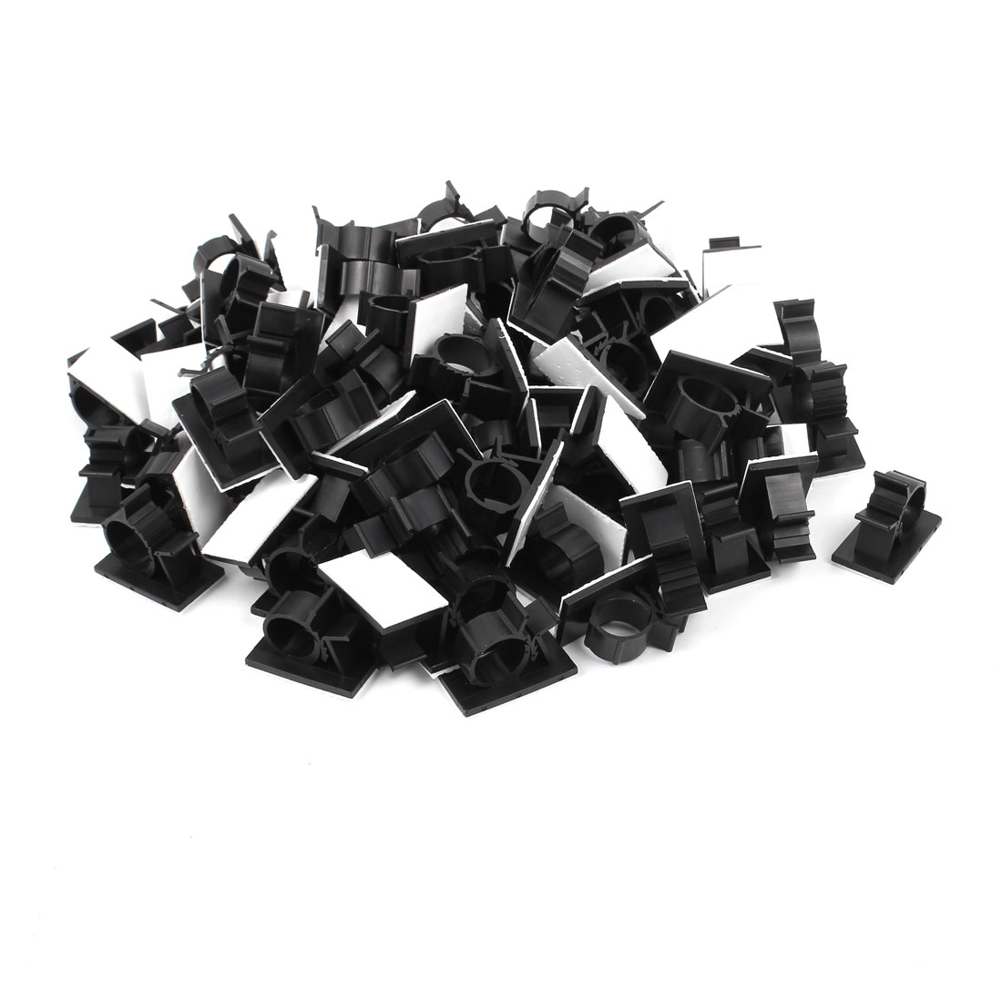 100Pcs Self Adhesive Adjustable Wire Cable Ties Clamp Sticker Clips Black 20.1mm