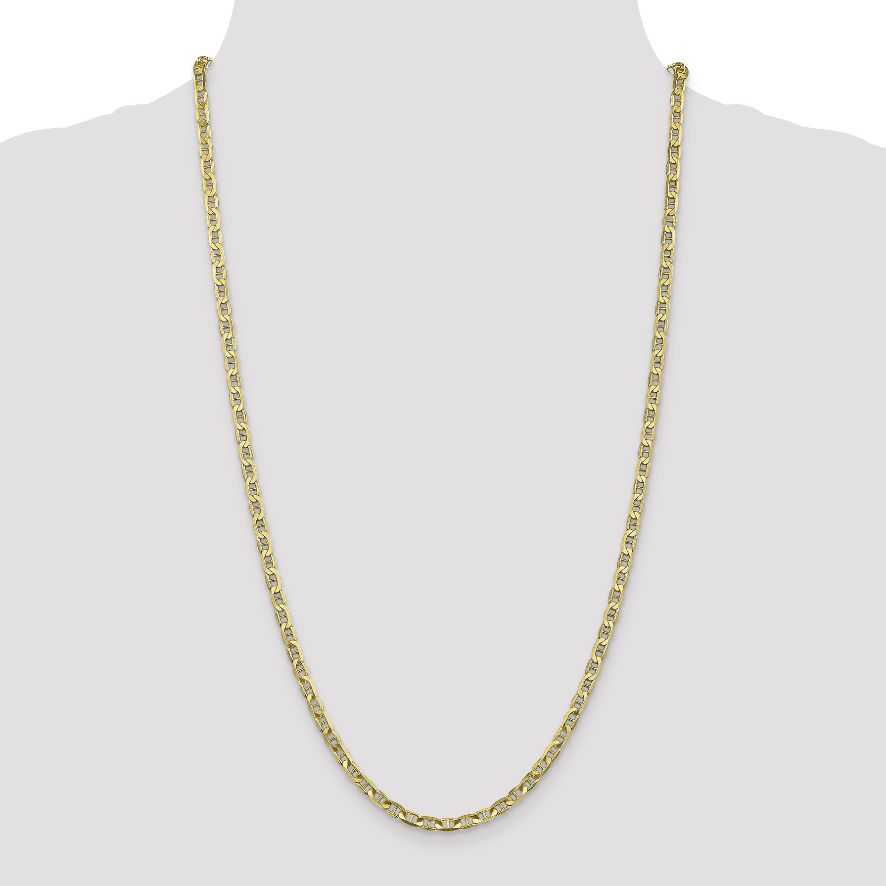 10K Yellow Gold 3.75mm Concave Anchor Chain 18 Inch - image 2 of 6