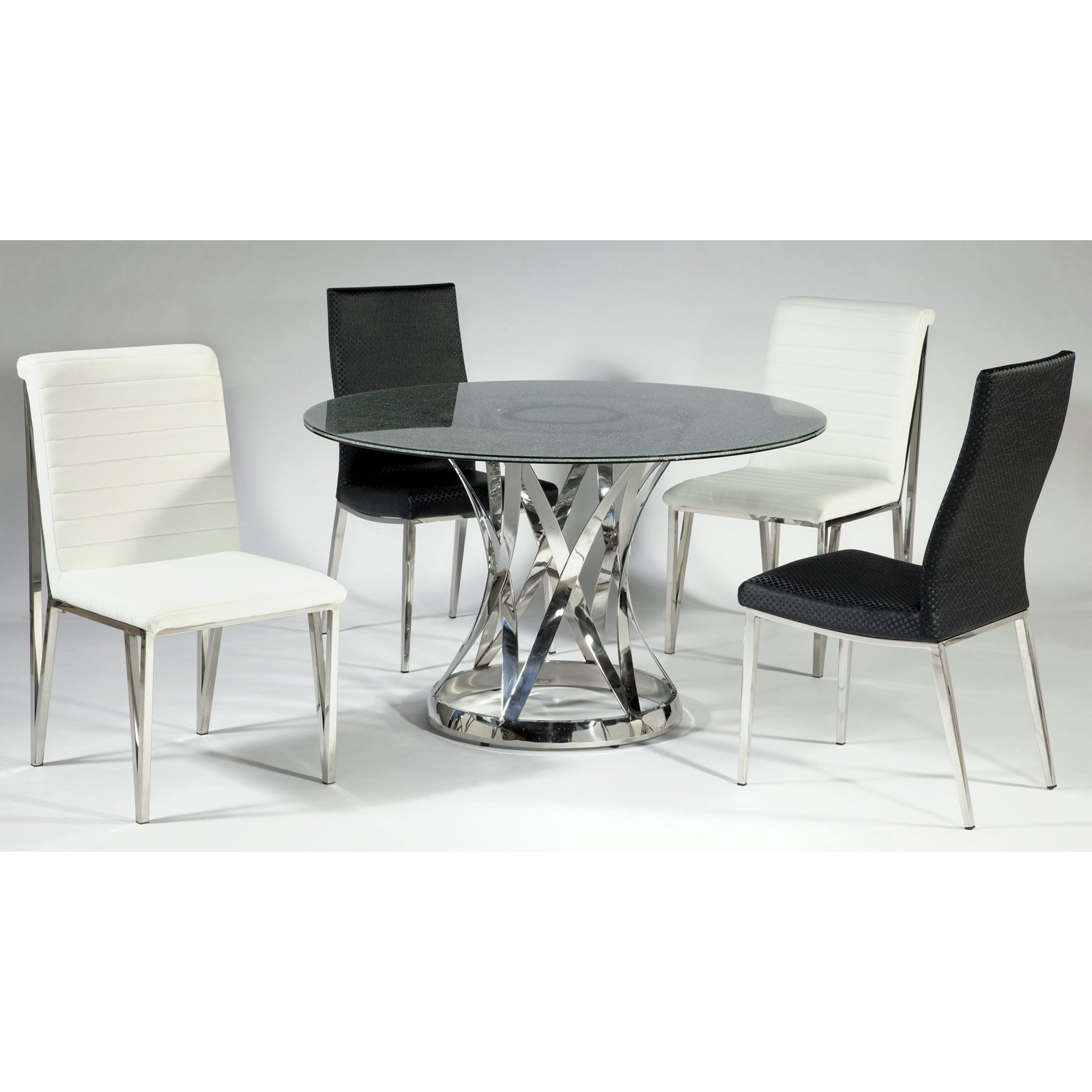 Chintaly Janet 5 Piece Dining Table Set with Crackle Glass Top