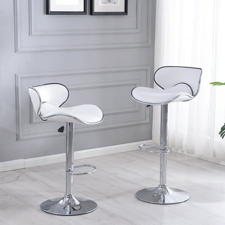 Belleze Set of (2) Retro Adjustable Faux Leather Swivel Bar Stools Chairs Footrest, White ()