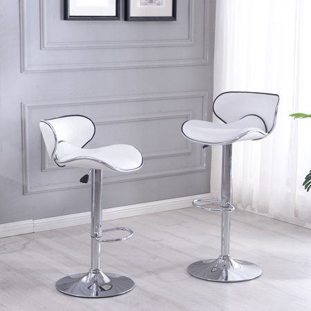 Belleze Set of (2) Retro Adjustable Faux Leather Swivel Bar Stools Chairs Footrest, White (Retro Kitchen Chair Step Stool)
