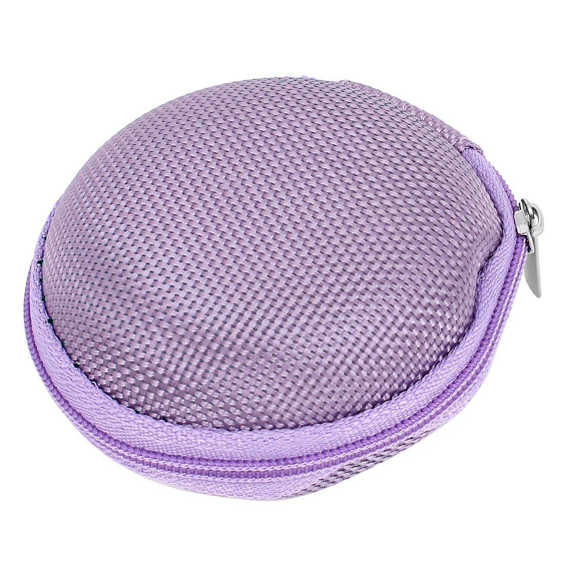 Ladies Zip Closure Round Style Single Pocket Money Cash Coin Mini Purse Purple