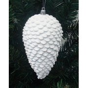 "6ct Winter White Shatterproof Glitter Pine Cone Christmas Ornaments 6.5"""
